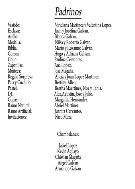 lista de padrinos para una boda catolica ejemplo de formato de lista de padrinos de 15