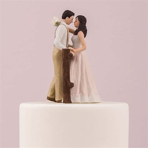 Wedding Cake Figurines by Rustic Porcelain Figurine Wedding Cake Topper The