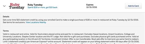 Ruby Tuesday E Gift Card - amex offers 10 off 30 at ruby tuesday 5 bonus card doctor of credit