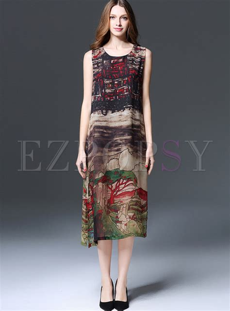 Ethnic Sleeveless Maxi Dress ethnic o neck sleeveless print maxi dress ezpopsy