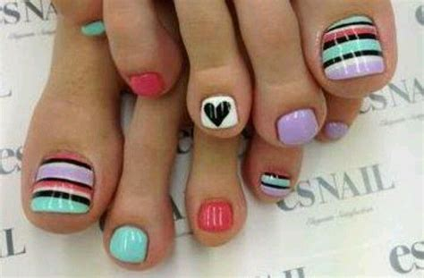 easy nail art toes pedicure toe nail art coral turquoise lavender and