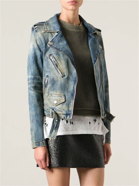 denim motorcycle jacket diesel denim biker jacket in blue lyst