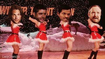 christmas  girls supernatural dance dean winchester sam winchester castiel jensen ackles