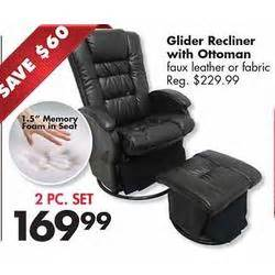 glider recliner w ottoman faux leather at big lots