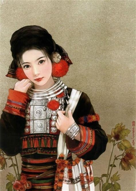 pics if women sgd 56 中国56民族人物服饰手绘图 高山族 赫哲族 布朗族 德昂族
