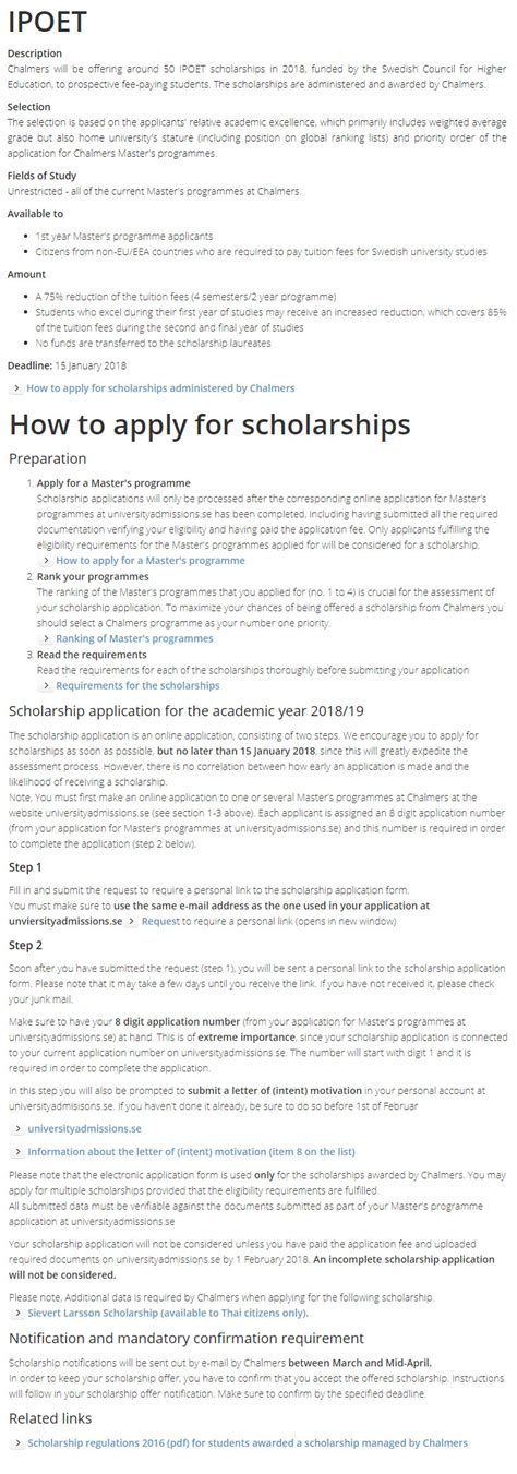 Unisa Mba Fees 2018 by Chalmers Ipoet Master Scholarships For International Students