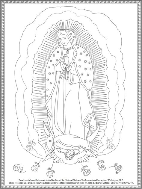 our lady of guadalupe crafts coloring apges