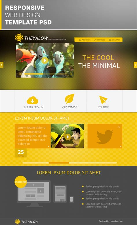 Theyalow A Responsive Web Design Template Psd For Free Free Web Templates