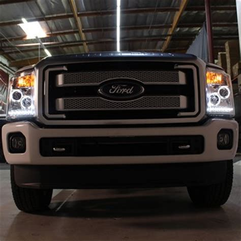 smoked headlights and lights ford f350 duty 2011 2014 smoked halo projector