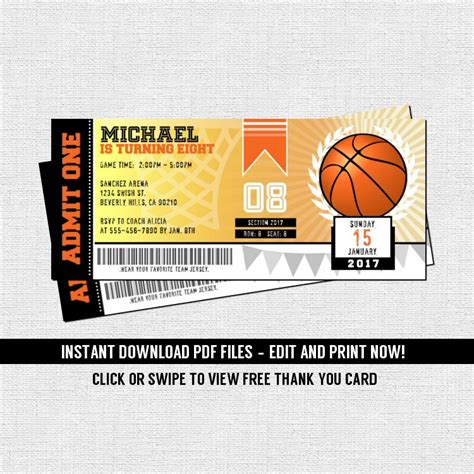 printable ball tickets basketball ticket invitations birthday party instant
