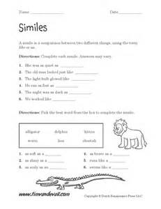 printable simile worksheets language arts pdfs