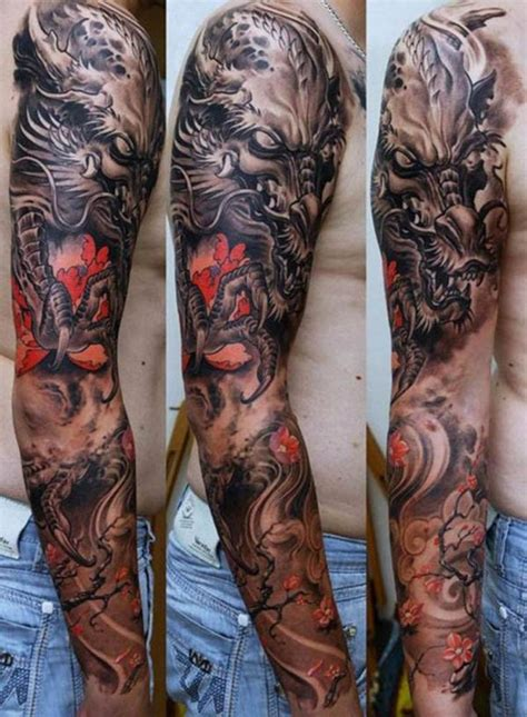 dragon sleeve tattoo designs ideas barbed wire weapons skulls and the