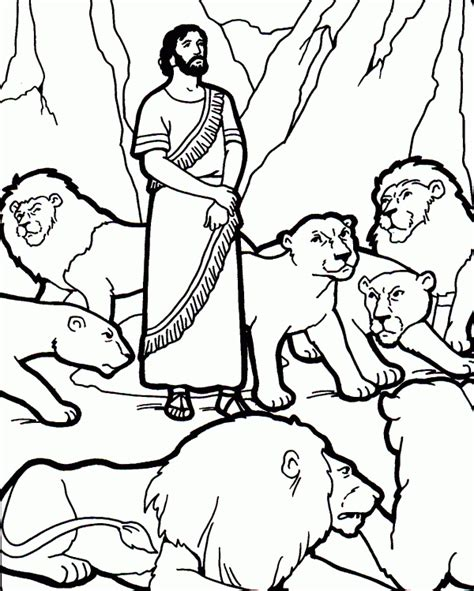 free coloring pages of daniel and lions den
