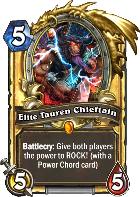 hearthstone gold card template blizzcon elite tauren chieftan reactor