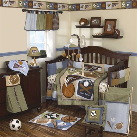 Blue Classic Baseball Sports Nursery 9p Green Baby Boy Baseball Nursery Bedding Sets
