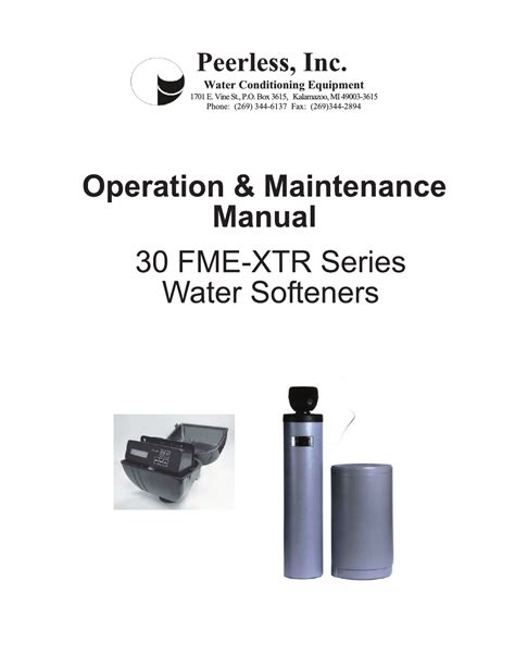 Manual Water peerless water 30 fme xtr series service owners manual user manual 14 pages