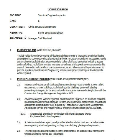 structural engineer job description sample  examples  word
