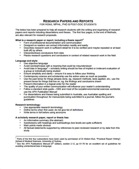sample report outline template   documents