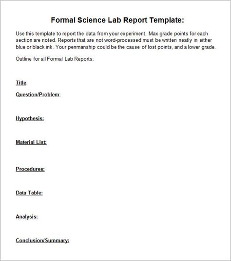 lab report template 5 lab report templates