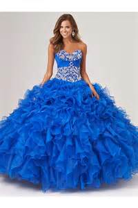 puffy ball gown royal blue organza ruffle beaded corset