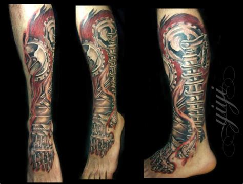 biomechanical tattoo on legs biomechanical leg tattoo by inkfierno tattoo