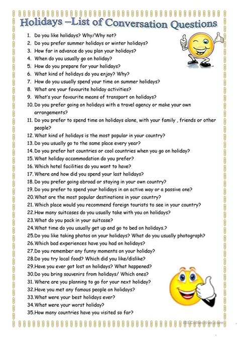 holidays conversation questions worksheet free esl