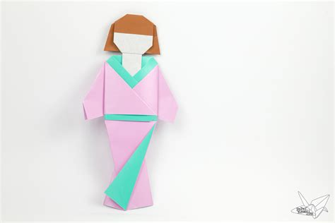 Origami Doll - origami japanese doll in kimono dress tutorial paper kawaii