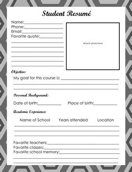 First Day of School Student Resume by Let's Learn Lit | TpT