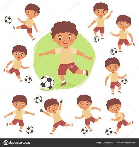 dibujos de niños jugando soccer conjunto de ni 241 o jugando f 250 tbol soccer vector de dibujos