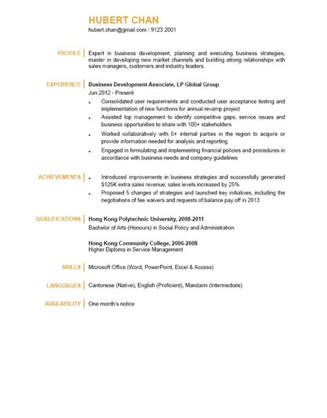 Curriculum Vitae Sle Hk Business Development Associate Cv Ctgoodjobs Powered By Career Times