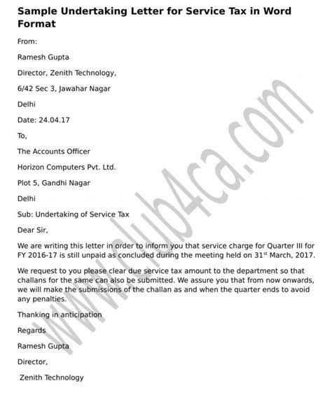 Loan Undertaking Letter Format Sle Letter Of Undertaking For Bank Loan Cover Letter Templates