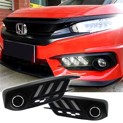 Cover Fogl Drl Honda All New Civic 12 Esuse Hd061 Ims buy honda civic fc 2016 2017 mustang style daytime running light fog l cover with turn