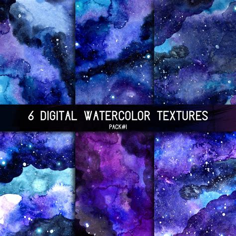 space background digital watercolor texture  night starry