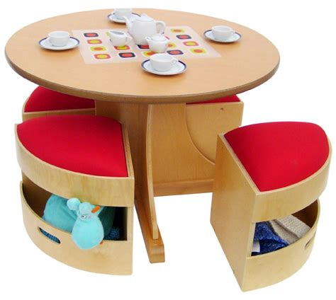 Childrens Dining Table This Modern Birch Table Comes With 4 Tidy Stools Which Offer Additional Storage At The Bottom Of