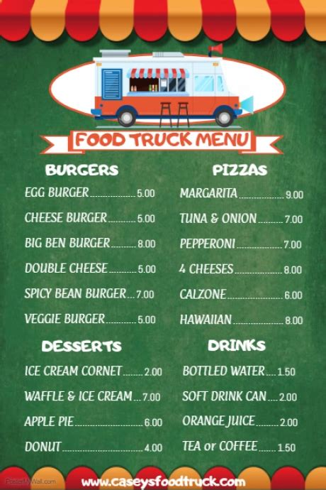 Food Truck Menu Template Postermywall Food Truck Menu Template