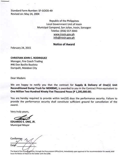 Award Notice Letter Notice Of Award For Supply And Delivery Of One 1 Unit Reconditioned Dump Truck For Mdrrmc Irosin