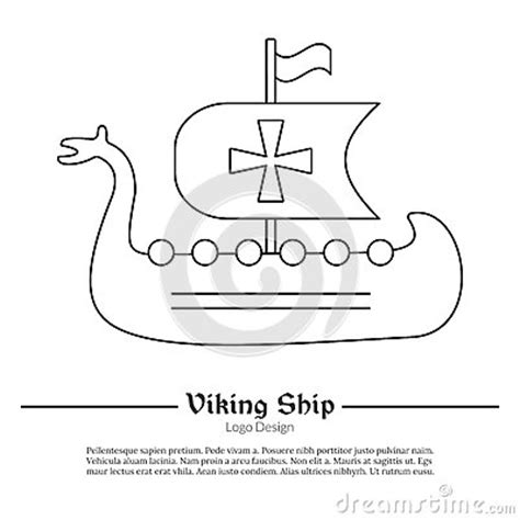 viking ship template logo emblem template with outline icon stock