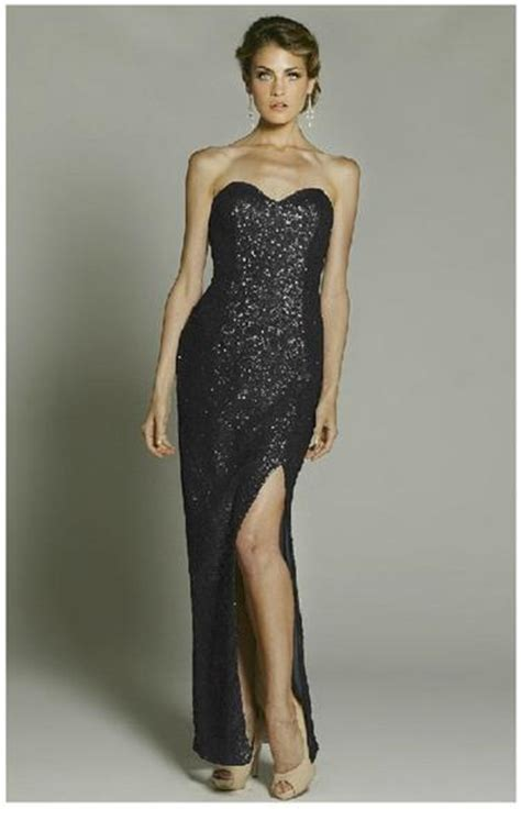 dramatic all over sequin and rhinestone prom dresses by la femme strapless long evening gown sweetheart all over sequin