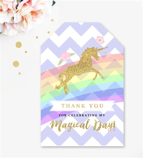 printable unicorn thank you tags free favor gift thank you tags purple magical unicorn