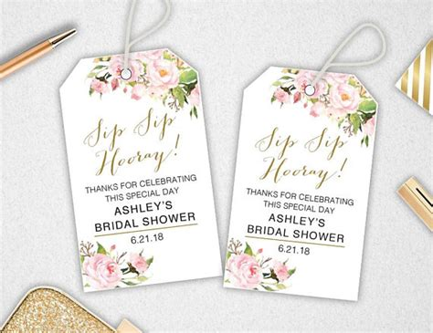printable thank you tags for bridal shower favors sip sip hooray tags instant download editable