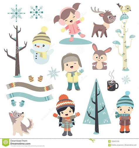 cute animals in boats kids design elements set stock cute children in winter time stock vector image 102401316