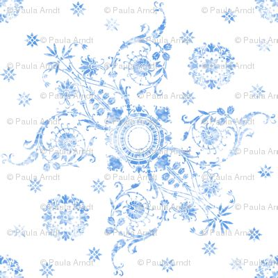 Cotton On Ena ena damask in watercolor delft fabric lilyoake spoonflower