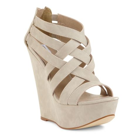 bone wedge sandals steve madden xcess platform wedge sandals in beige bone