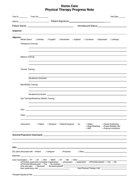 Physical Therapy Progress Progress Note Template For Mental Health Counselors