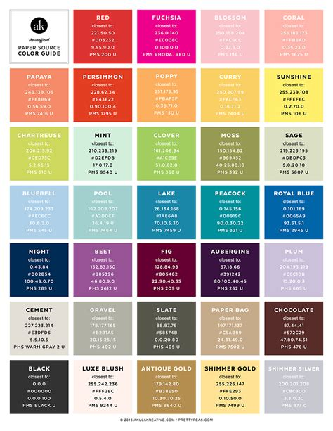 best colour names the unofficial paper source color guide paper source