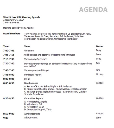 template of an agenda template for agenda of meeting new calendar template site