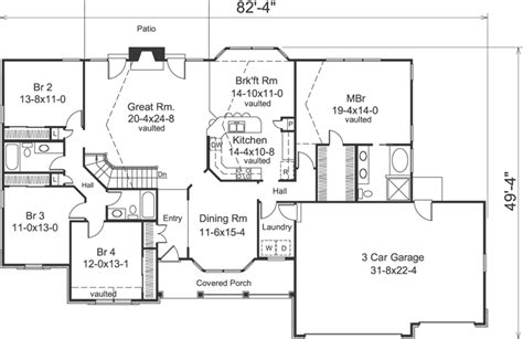 4 Bedroom Ranch Floor Plans by 4 Bedroom 3 Bath House Plans Homes Floor Plans