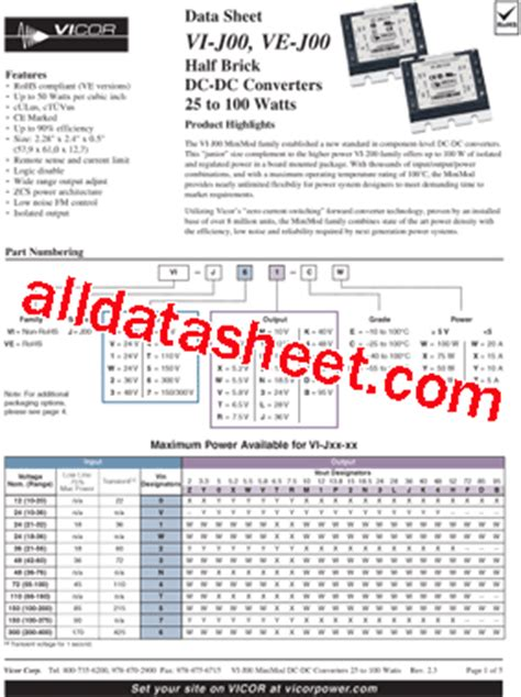 transistor ew vi j3y ew datasheet pdf vicor corporation