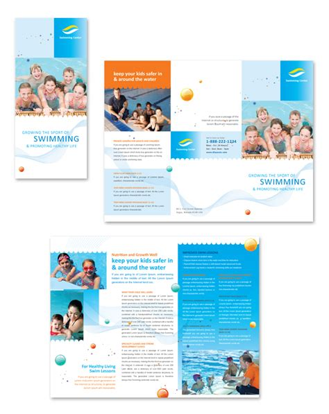 Swimming Lessons Tri Fold Brochure Template Swim Lesson Flyer Template Free