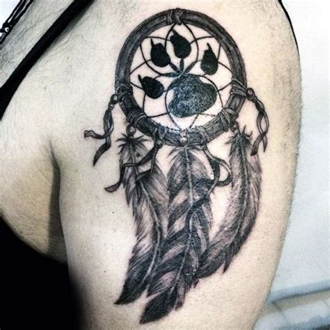 dream catchers tattoos for men mens paw print dreamcatcher arm jpg 600 215 600